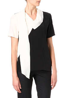PAUL SMITH BLACK Neck-scarf silk-crepe top