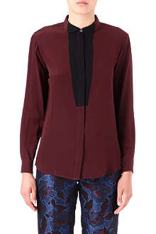 PAUL SMITH BLACK Contrast-placket silk-crepe shirt