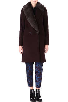 PAUL SMITH BLACK Sheepskin-collar coat