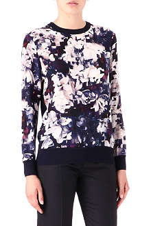 PAUL SMITH BLACK Printed-front knitted jumper