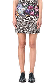 PAUL BY PAUL SMITH Chequered and rose print skirt