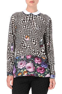 PAUL BY PAUL SMITH Check and rose print top