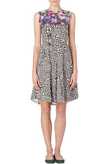 PAUL BY PAUL SMITH Rose and check-print dress