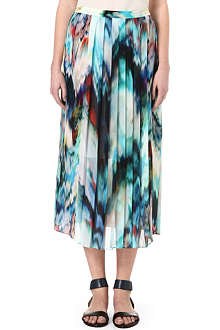 PAUL SMITH BLACK Pleated silk midi skirt