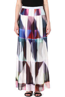 PAUL SMITH BLACK Printed silk maxi skirt