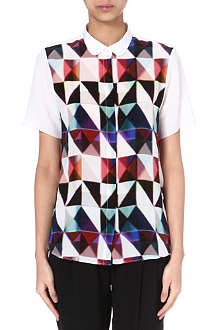 PAUL SMITH BLACK Triangle-print silk shirt
