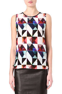 PAUL SMITH BLACK Triangle-print silk top