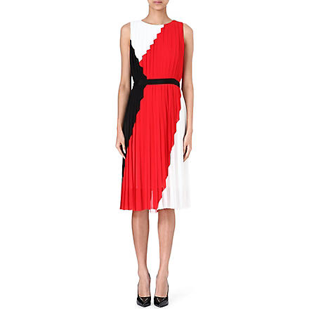 PAUL SMITH BLACK Tri-colour pleated dress (White/red/black