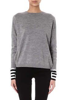 PAUL SMITH BLACK Striped-cuff wool jumper