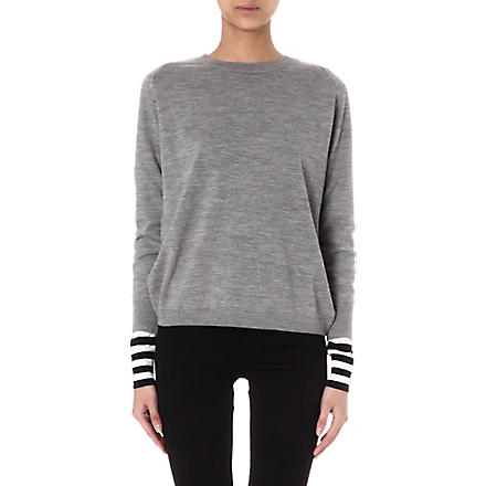 PAUL SMITH BLACK Striped-cuff wool jumper (Grey