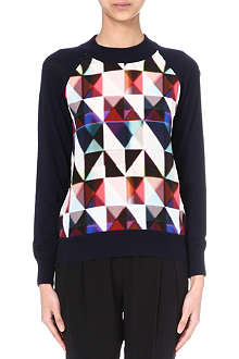 PAUL SMITH BLACK Triangle-print wool and silk jumper