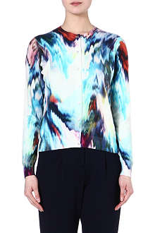 PAUL SMITH BLACK Warp-print silk-blend cardigan
