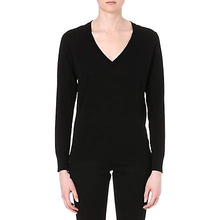 PAUL SMITH BLACK V-neck knitted jumper (Black