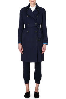 PAUL SMITH BLACK Texture waterproof trench coat