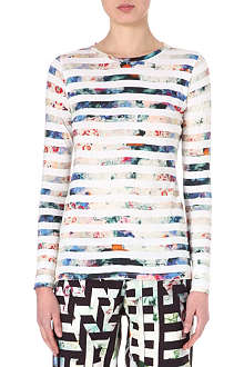 PAUL BY PAUL SMITH Floral-stripe long-sleeved top