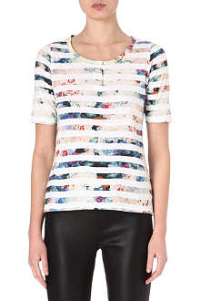 PAUL BY PAUL SMITH Floral-stripe t-shirt