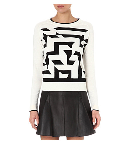 PAUL BY PAUL SMITH Large maze knitted jumper (Black/white