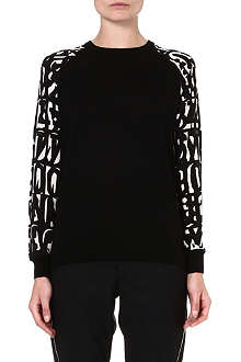 PAUL SMITH BLACK Letter-sleeve wool jumper