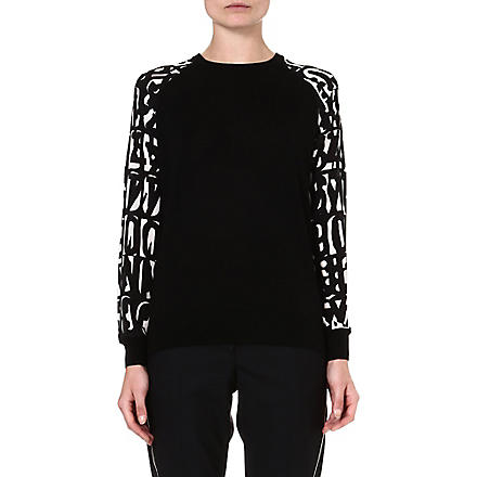 PAUL SMITH BLACK Letter-sleeve wool jumper (Black/white