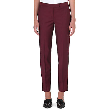 PAUL SMITH BLACK Slim-fit tapered wool-blend trousers (Burgundy