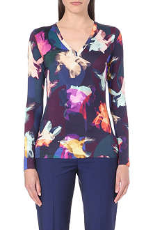 PAUL SMITH BLACK Floral V-neck jersey top