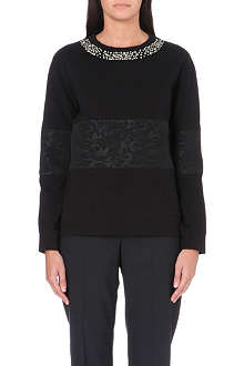 PAUL SMITH BLACK Jewel embellished jersey top