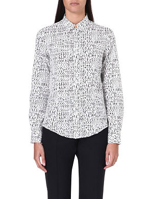 PAUL SMITH BLACK Number-print cotton shirt