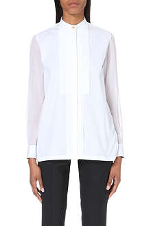 PAUL SMITH BLACK Collarless bib-front cotton shirt