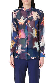 PAUL SMITH BLACK Floral-print silk shirt