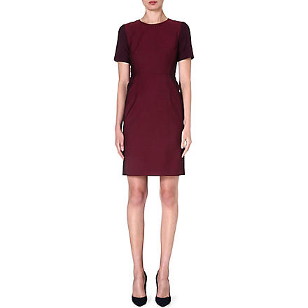 PAUL SMITH BLACK Contrast-panel wool-blend dress (Burgundy