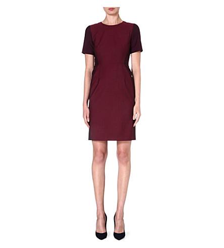 PAUL SMITH BLACK Contrast-panel wool-blend dress (Burgundy
