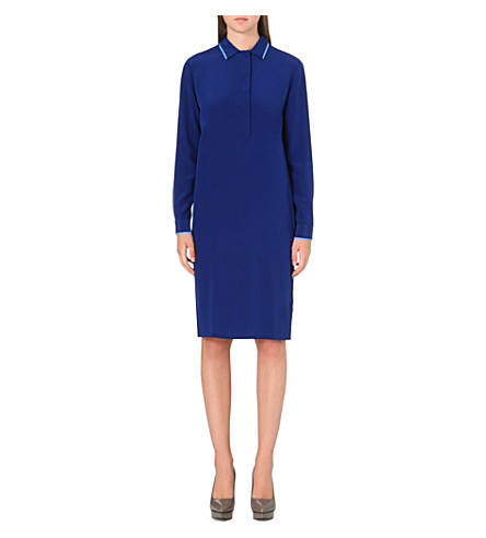 PAUL SMITH BLACK Long-sleeved silk shirt dress (Blue