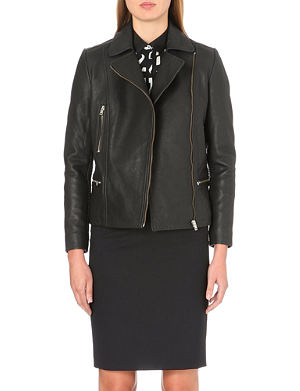 PAUL SMITH BLACK Chunky leather biker jacket