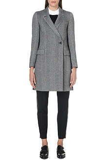 PAUL SMITH BLACK Striped wool-blend coat