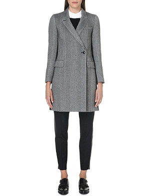 PAUL SMITH BLACK Striped wool-blend coat