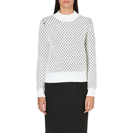PAUL SMITH BLACK Waffle knit circle jumper (White