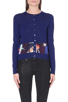 PAUL SMITH BLACK Floral-trim wool cardigan