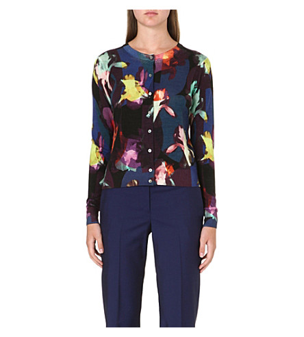PAUL SMITH BLACK Floral wool-blend cardigan (Floral