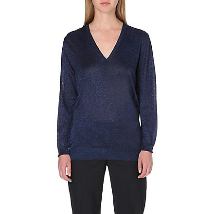 PAUL SMITH MAINLINE Lurex v-neck jumper (Blue