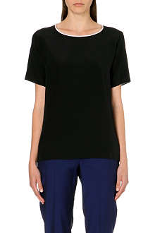PAUL SMITH BLACK Contrast-collar silk t-shirt