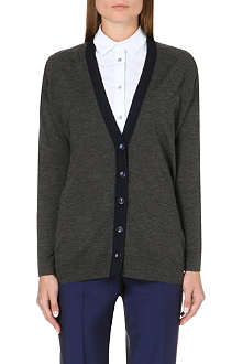 PAUL SMITH BLACK Contrast-placket wool cardigan