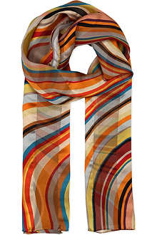 PAUL SMITH ACCESSORIES Jacquard swirl-print silk scarf