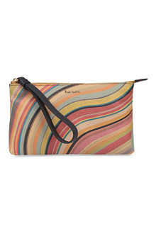PAUL SMITH ACCESSORIES Swirl leather wristlet pouch