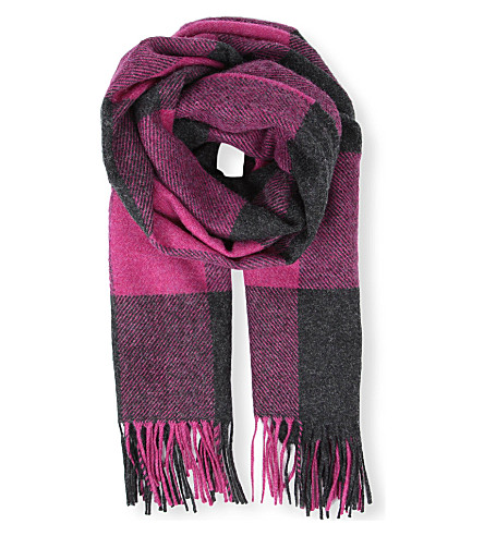 PAUL SMITH ACCESSORIES Checked wool scarf (Purple