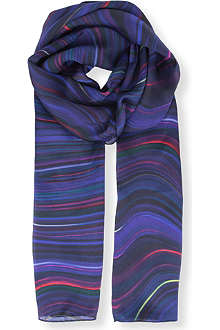 PAUL SMITH ACCESSORIES Colourburn swirl silk scarf