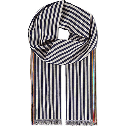 PAUL SMITH ACCESSORIES Striped cotton scarf (Blue