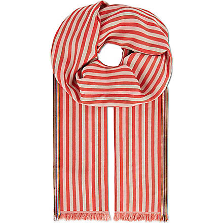 PAUL SMITH ACCESSORIES Striped cotton scarf (Red