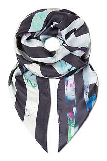 PAUL SMITH ACCESSORIES Floral maze silk scarf