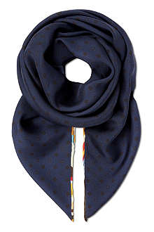 PAUL SMITH ACCESSORIES Silk swirl-edge scarf