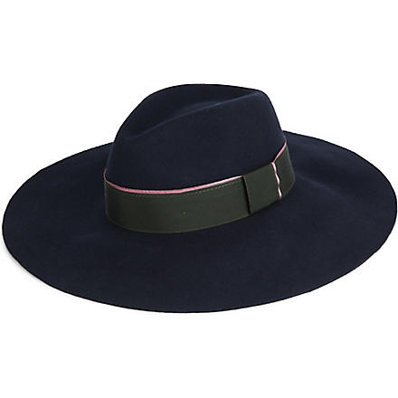 PAUL SMITH ACCESSORIES Wool wide-brimmed fedora hat (Blue